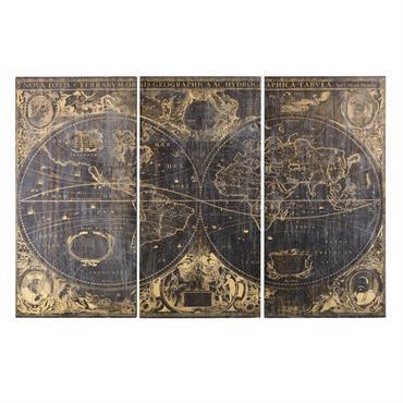 Le triptyque cartes anciennes noires 270x180 GALILEE ne manquera pas d'assouvir votre soif d'évasion. Composé de trois grands panneaux aux impressions vieillies, il recouvrira avec charme et élégance le mur ...