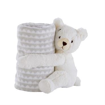 Couverture bébé grise motifs blancs 100x75cm ERNEST