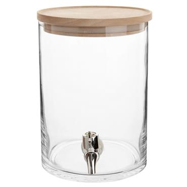 Fontaine à boisson en verre couvercle en hévéa