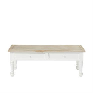 Table basse 2 tiroirs en acajou et teck