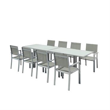 Table de jardin 8 places en textilène et aluminium argent