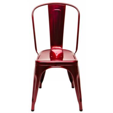 Chaise empilable Tolix Design Acier rouge métallisé Métal Larg 51 cm × Prof 46 cm x H 85 cm - Assise : H 44 cm TOLIX investit désormais nos terrasses ...
