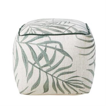 Pouf imprimé feuilles de palmiers vert et écru