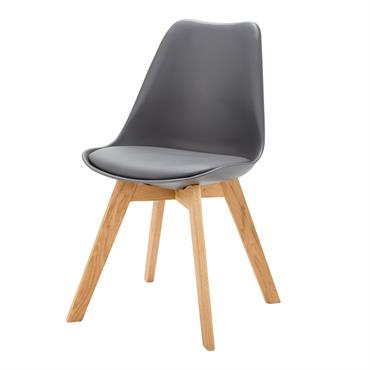 Chaise style scandinave gris anthracite et chêne Ice