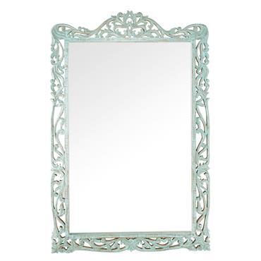 Miroir en manguier sculpté bleu 92x139