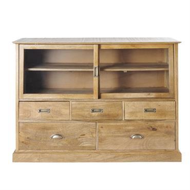 Cabinet de rangement 2 portes en verre et 5 tiroirs Cezanne