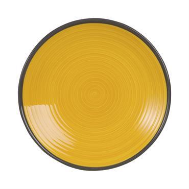 Assiette à dessert en faïence jaune