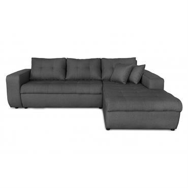 Canapé d'angle droit convertible en tissu gris foncé