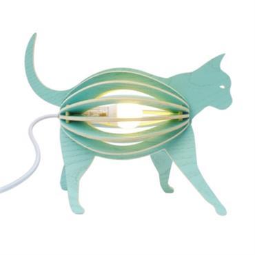 Zooo - lampe à poser chat en bois avec cordon textile
