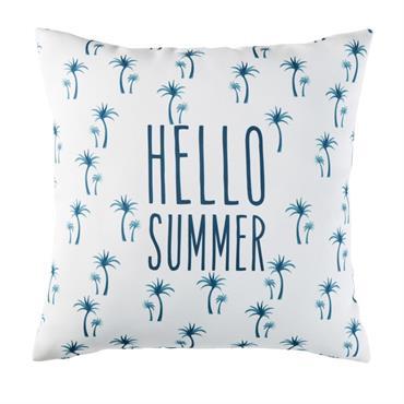 Coussin d'extérieur blanc imprimé palmiers bleus 45x45