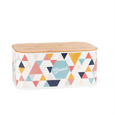 Boîte à pain en métal motifs graphiques multicolores et bambou