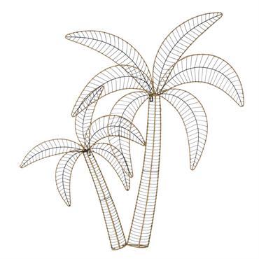 Déco murale palmiers tressés en métal 114x116