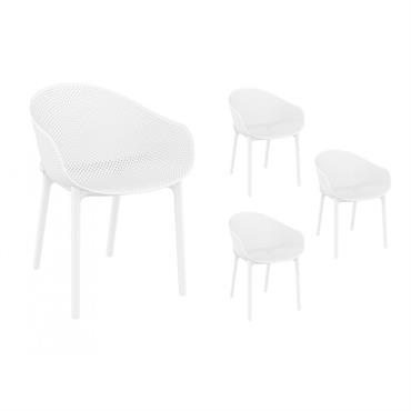 Lot de 4 chaises blanches intérieur/extérieur