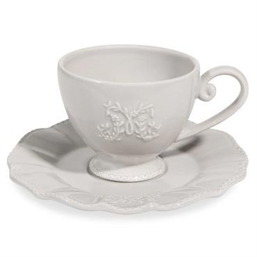 Tasse et soucoupe à café en faïence grise BOURGEOISIE
