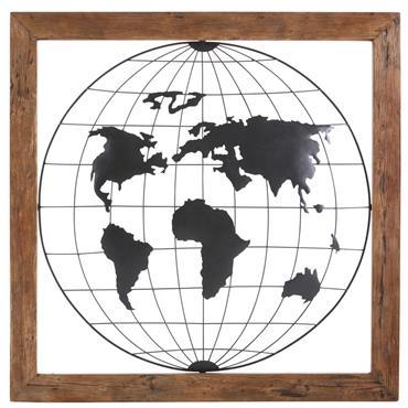 Faites le tour du monde avec la déco murale globe WORLDWIDE. Vous serez charmé par l'encadrement en manguier et l'intérieur en métal noir représentant une carte du monde. Cette déco ...