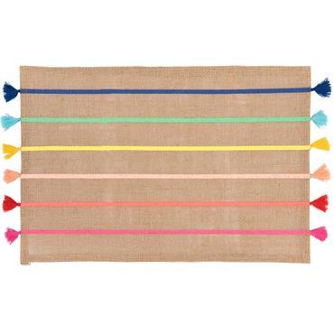 Set de table en fibre végétale motifs à rayures multicolores