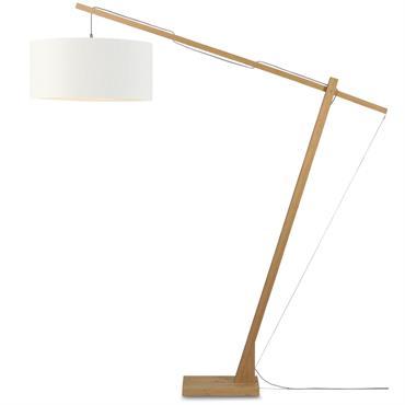 Lampadaire en bambou abat-jour en lin H207cm