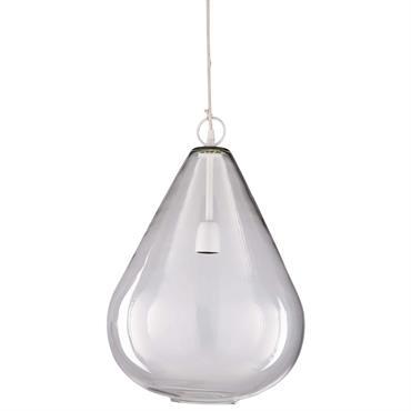 TENDANCE INDUS Accrochée à votre plafond, la suspension en métal blanc et verre D.35cm GOUTTE créera une belle illusion au centre de votre pièce. DESIGN ARTISANAL Ce luminaire industriel n'est ...