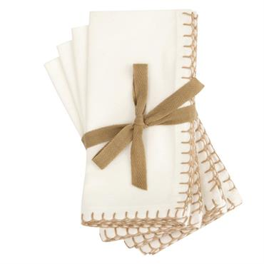 Serviettes en coton bio blanc 40x40