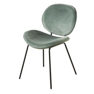 Chaise en velours bleu gris et métal noir Luna