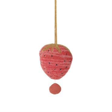 Mobile musical Fruiticana - Fraise / Tricoté - Ferm Living rouge en tissu