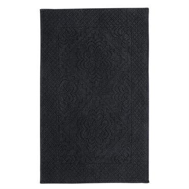 Tapis de bain en coton noué gris anthracite 65x100