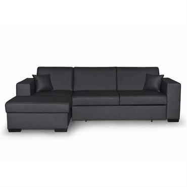 Canapé d'angle gauche convertible en simili gris