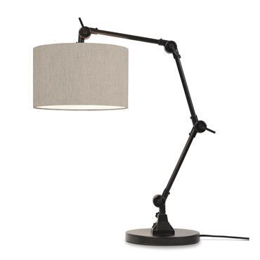 Lampe de table noire flexible et abat-jour gris clair H100cm
