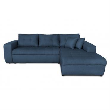 Canapé d'angle droit convertible en tissu bleu pétrole