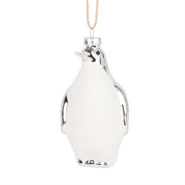 Suspension de Noël pingouin blanc à paillettes et argenté