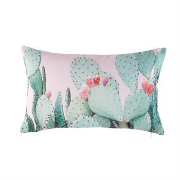 Coussin d'extérieur rose imprimé cactus 30x50