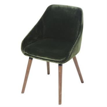 Chaise en velours vert et hévéa Orwell