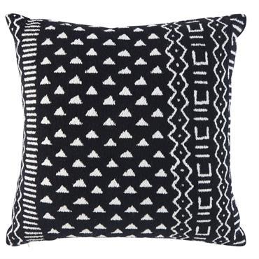 Coussin en coton tissé noir motifs graphiques blancs 45x45