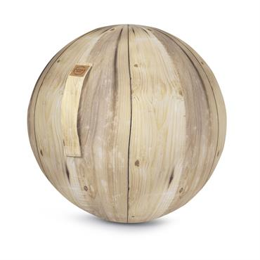 Balle d'assise motif bois avec poignée polyester D65