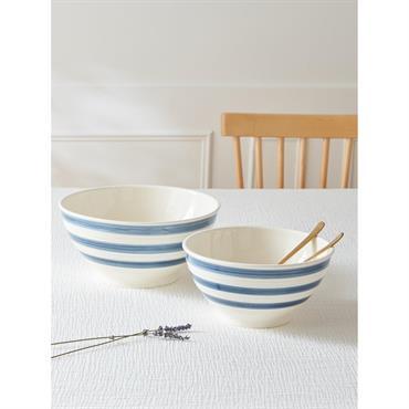 Saladier céramique rayée par lot de 2 blanc rayé bleu