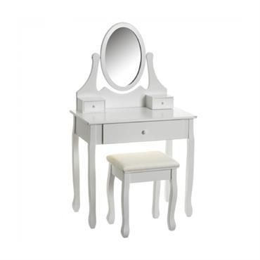Coiffeuse en bois blanc avec miroir