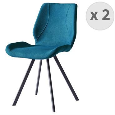 HALIFAX-Chaise indus tissu bleu pieds noir brossé