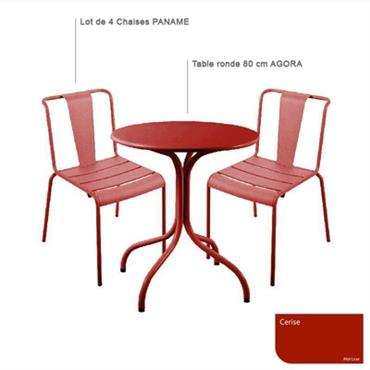 Ensemble table ronde Agora et 4 chaises Paname
