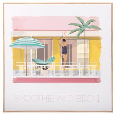 Tableau imprimé terrasse villa rétro 36x36