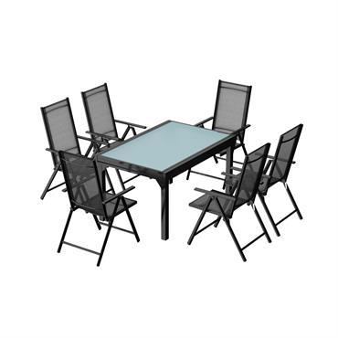Table de jardin extensible et 6 fauteuils en alu et textilène