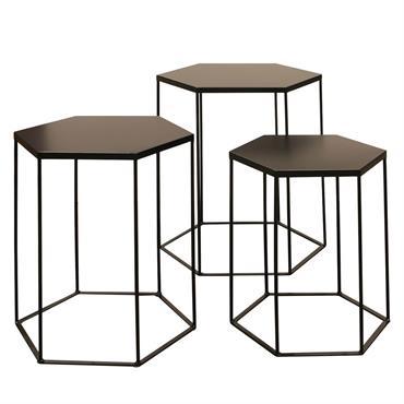Lot de 3 Tables Gigognes Hexagonales Métal Noir