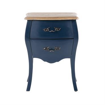 Table de chevet 2 tiroirs bleu nuit Haute couture