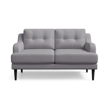 Canapé 2 places toucher lin gris