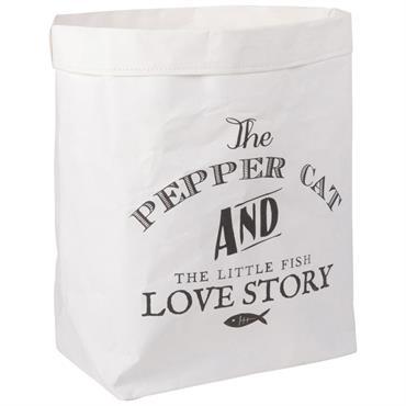 Cette année, en déco, il n'y en aura pas que pour vous ! Ce sac de rangement en papier blanc imprimé noir est destiné à gâter votre petite boule de ...