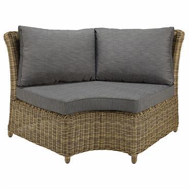 Angle rond de canapé de jardin en résine tressée et coussins