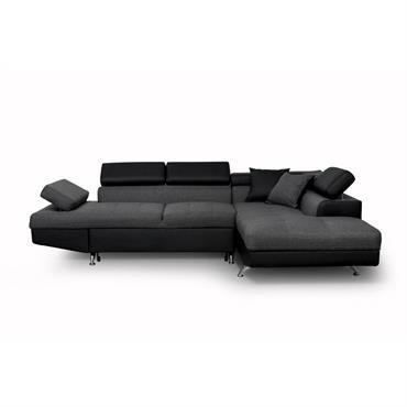 Canapé d'angle droit convertible avec coffre noir/gris