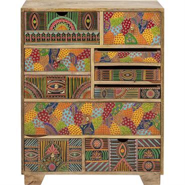 Commode 10 tiroirs en manguier massif motifs multicolores