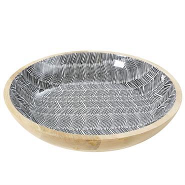 Vide-poches en manguier massif motifs graphiques