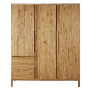 Dressing 3 portes 2 tiroirs en teck massif recyclé Surabaya