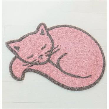 Eponge 100% coton, 1200 g/m² Lavable à 30° Forme chat. Absorbant et moelleux. Dim : 80cm x 53cm